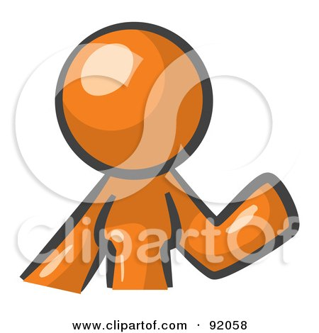 Royalty-Free (RF) Clipart Illustration of an Orange Woman Avatar Waving by Leo Blanchette