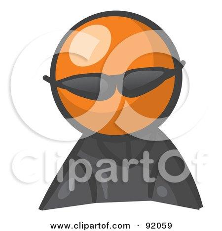 Royalty-Free (RF) Clipart Illustration of an Orange Man Avatar Spy Wearing Shades by Leo Blanchette