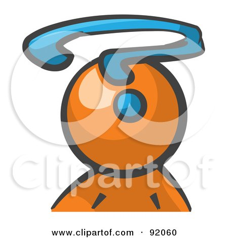 Royalty Free RF Clipart Illustration Of An Orange Man Avatar With A Question Mark