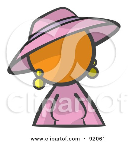 Royalty-Free (RF) Clipart Illustration of an Orange Woman Avatar In A Purple Dress And Hat by Leo Blanchette