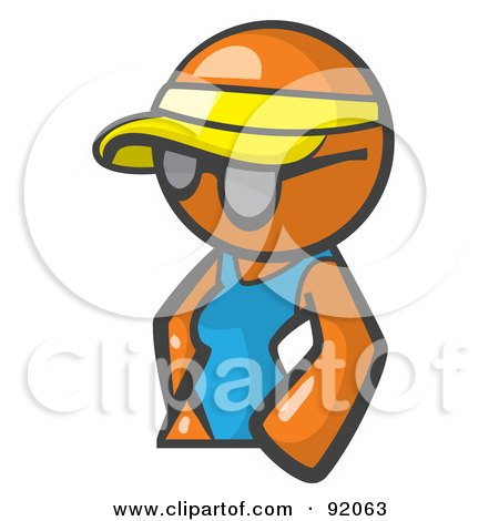 Royalty-Free (RF) Clipart Illustration of an Orange Woman Avatar Wearing A Visor And Shades by Leo Blanchette