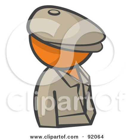 Royalty-Free (RF) Clipart Illustration of an Orange Man Avatar Detective by Leo Blanchette