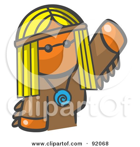 Royalty-Free (RF) Clipart Illustration of an Orange Woman Avatar Hippie Waving by Leo Blanchette