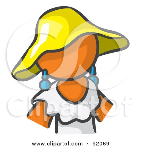 Royalty-Free (RF) Clipart Illustration of an Orange Woman Avatar In A White Dress And Yellow Hat by Leo Blanchette