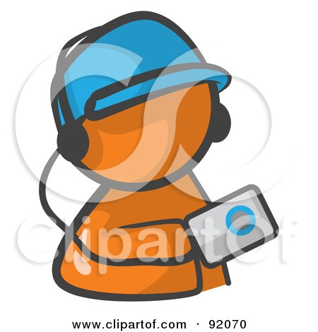 Royalty-Free (RF) Clipart Illustration of an Orange Man Avatar Holding An Mp3 Player by Leo Blanchette