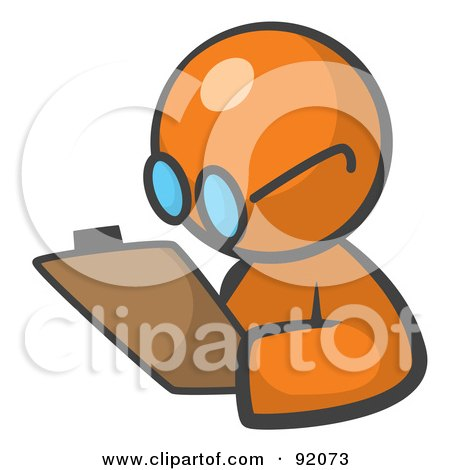 Royalty-Free (RF) Clipart Illustration of an Orange Man Avatar Writing Notes On A Clipboard by Leo Blanchette