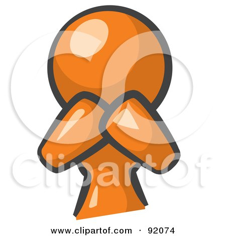 Royalty-Free (RF) Clipart Illustration of an Orange Woman Avatar Covering Her Mouth And Acting Surprised by Leo Blanchette