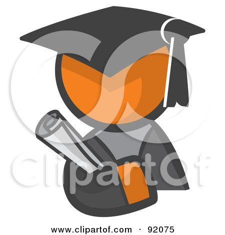 Royalty-Free (RF) Clipart Illustration of an Orange Man Avatar Graduate Holding A Diploma by Leo Blanchette