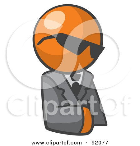 Royalty-Free (RF) Clipart Illustration of an Orange Man Businessman Avatar Wearing Shades by Leo Blanchette