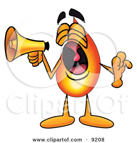 Clipart Picture of a Flame Mascot Cartoon Character Screaming Into a Megaphone by Toons4Biz