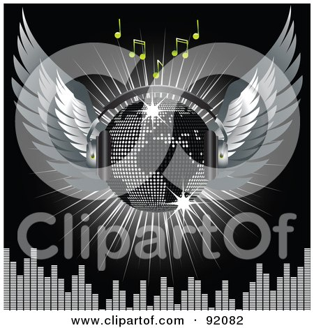 Royalty-Free (RF) Clipart Illustration of a Winged Silver Map Disco Ball With Headphones With Music Notes, A Burst And A Equalizer Bars, On Black by elaineitalia