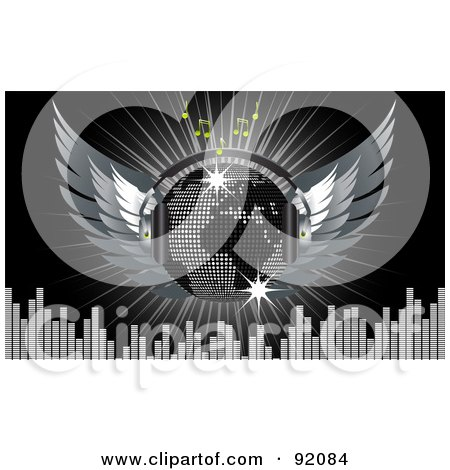 Royalty-Free (RF) Clipart Illustration of a Silver Map Disco Ball With Wings, Headphones, Music Notes, Equalizer Bars, And A Burst On Black by elaineitalia