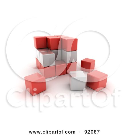 Royalty-Free (RF) Clipart Illustration of a 3d Red And White Austria Puzzle Cube by stockillustrations