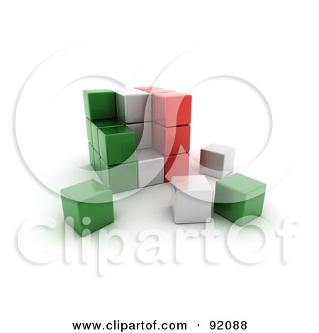 3d Green, White And Red Italy Puzzle Cube Posters, Art Prints