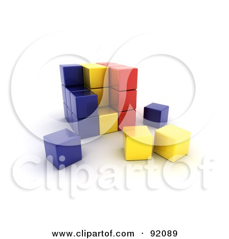 3d Blue, Yellow And Red Romania Puzzle Cube Posters, Art Prints
