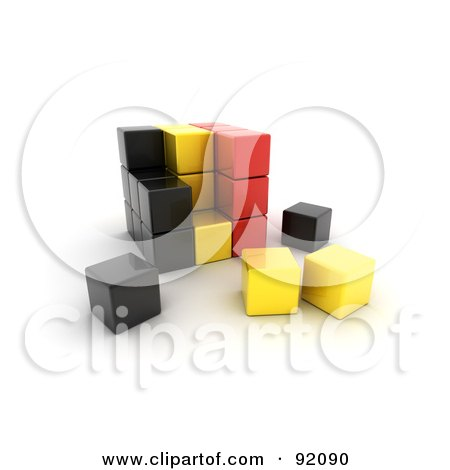 Royalty-Free (RF) Clipart Illustration of a 3d Black, Yellow And Red Belgium Puzzle Cube by stockillustrations