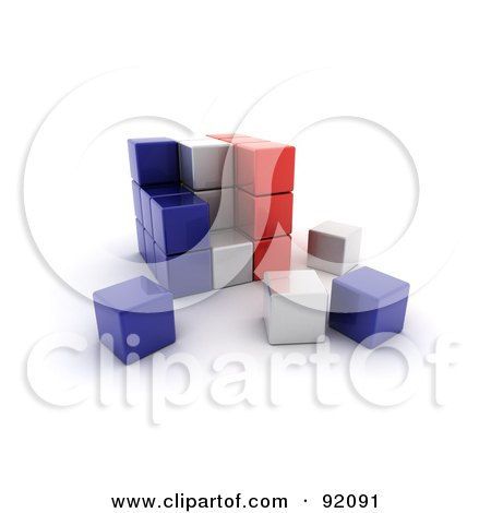 3d Blue, White And Red France Puzzle Cube Posters, Art Prints
