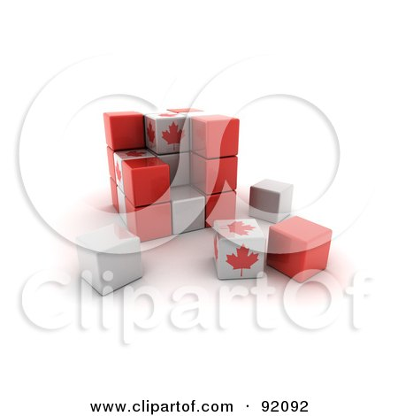 Royalty-Free (RF) Clipart Illustration of a 3d Red, White And Maple Leaf Canada Puzzle Cube by stockillustrations