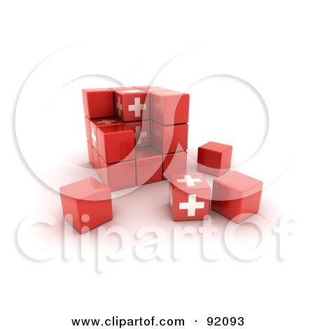 3d Red And White Switzerland Puzzle Cube Posters, Art Prints