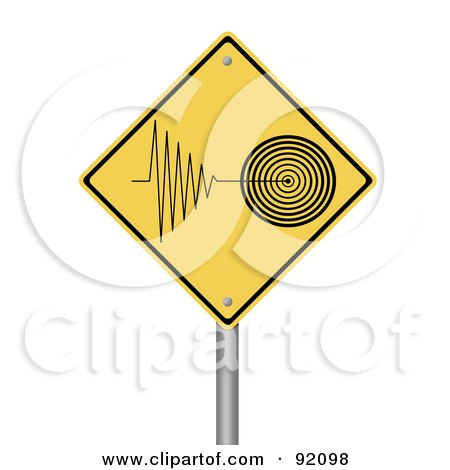 Royalty-Free (RF) Clipart Illustration of a Tremor Warning Sign by oboy
