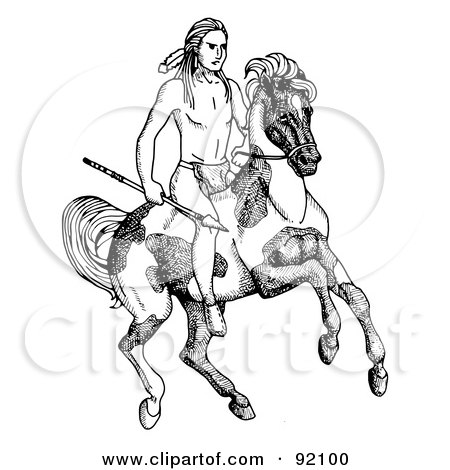Royalty-Free (RF) Clipart Illustration of a Black And White Native American Boy Holding A Spear And Riding On A Pinto by C Charley-Franzwa
