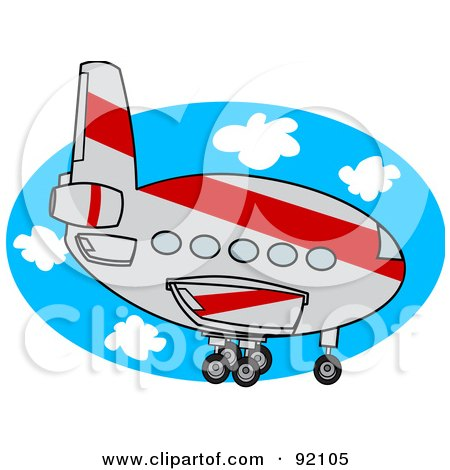 Royalty-Free (RF) Clipart Illustration of a Gray And Red Commercial Airliner Descending by djart