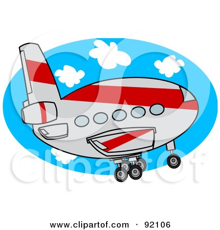 Royalty-Free (RF) Clipart Illustration of a Gray And Red Commercial Airliner Ascending by djart