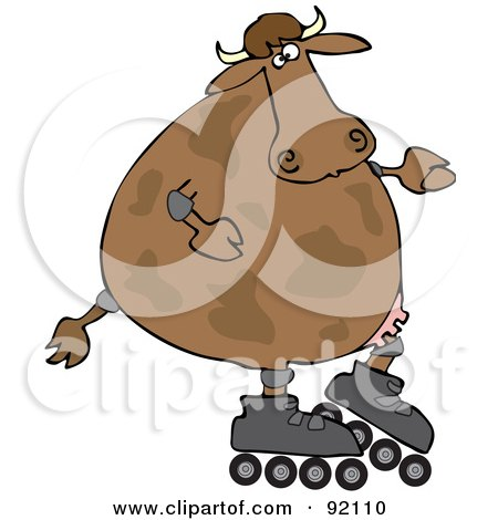 Royalty-Free (RF) Clipart Illustration of a Cow Roller Blading by djart