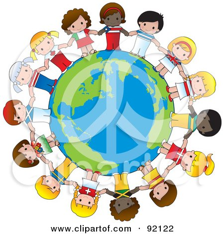 Royalty-Free (RF) Clipart Illustration of a Peace Globe Circled By Cute International Girls Holding Hands by Maria Bell