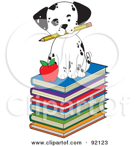 Royalty-Free (RF) Clipart Illustration of a Cute Dalmatian Puppy Sitting On Stack Of Books With A Pencil And Apple by Maria Bell
