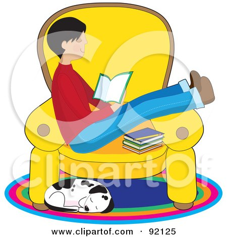Royalty-Free (RF) Clipart Illustration of a Dalmatian Dog Curled Up Below A Boy Reading A Book On A Chair by Maria Bell