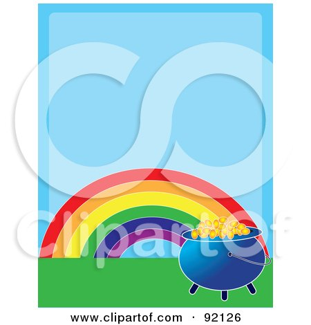 Royalty-Free (RF) Clipart Illustration of a Rainbow And Pot Of Gold On Green Grass, Over Blue Space by Maria Bell