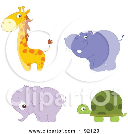 Royalty-Free (RF) Clipart Illustration of a Digital Collage Of An Adorable Giraffe, Hippo, Elephant And Tortoise by yayayoyo