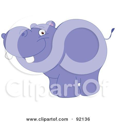 Royalty-Free (RF) Clipart Illustration of an Adorable Purple Hippopotamus by yayayoyo