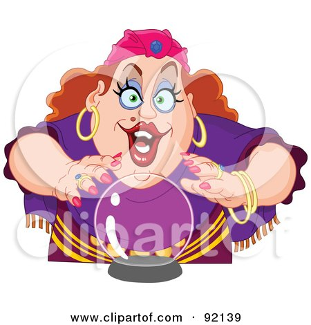 Clipart of a 3d Witch Hat on a Crystal Ball - Royalty Free Vector ...