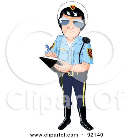 Royalty-Free (RF) Clipart Illustration of a Patrol Officer Issuing A Ticket by yayayoyo