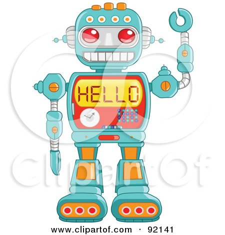 Royalty-Free (RF) Clipart Illustration of a Friendly Green Robot Waving And Reading Hello On His Chest by yayayoyo