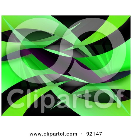 Royalty-Free (RF) Clipart Illustration of a Background Of Reflective Green Swooshes by Arena Creative