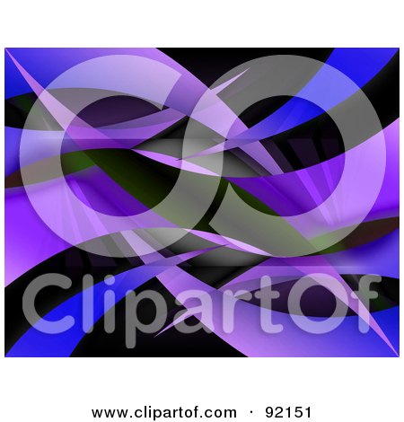 Royalty-Free (RF) Clipart Illustration of a Background Of Blue And Purple Swooshes On Black by Arena Creative