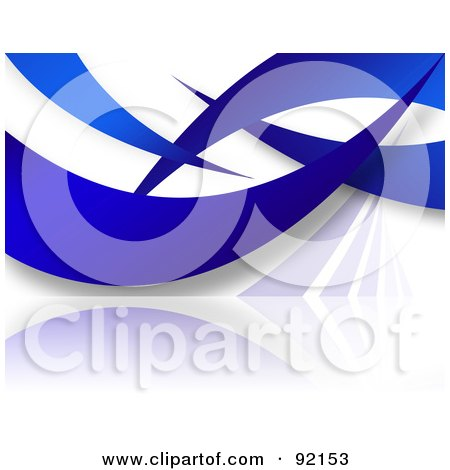 Royalty-Free (RF) Clipart Illustration of a Background Of Blue Swooshes On White by Arena Creative