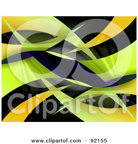 Royalty-Free (RF) Clipart Illustration of a Background Of Orange And Green Swooshes On Black by Arena Creative