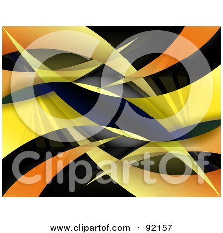 Royalty-Free (RF) Clipart Illustration of a Background Of Gradient Yellow And Orange Swooshes On Black by Arena Creative