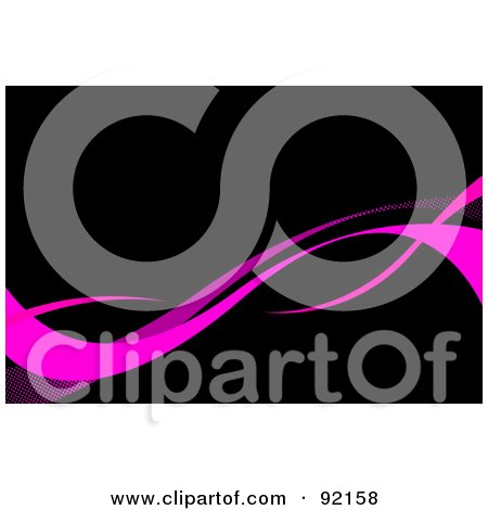 Royalty-Free (RF) Clipart Illustration of a Background Of Pink Swooshes Over Black by Arena Creative