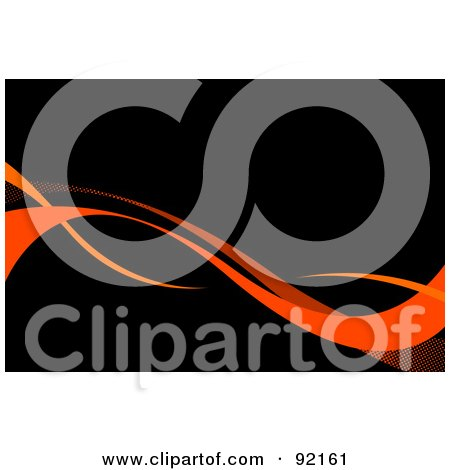 Royalty-Free (RF) Clipart Illustration of a Background Of Orange Horizontal Swooshes Over Black by Arena Creative