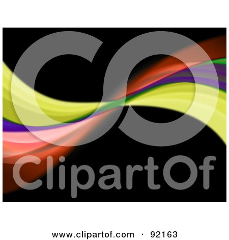 Royalty-Free (RF) Clipart Illustration of a Background Of Rainbow Swooshes Over Black by Arena Creative