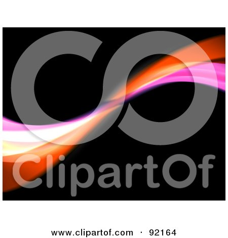 Royalty-Free (RF) Clipart Illustration of a Background Of Orange And Pink Swooshes Over Black by Arena Creative