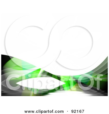Royalty-Free (RF) Clipart Illustration of a Background Of Green Fractal Swooshes Over White by Arena Creative