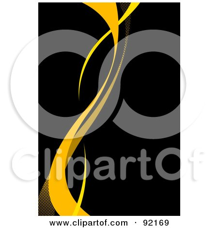 Royalty-Free (RF) Clipart Illustration of a Background Of Vertical Yellow Swooshes Over Black by Arena Creative