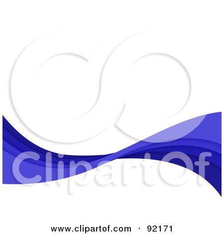 Royalty-Free (RF) Clipart Illustration of a Background Of Horizontal Blue Swooshes Over White by Arena Creative