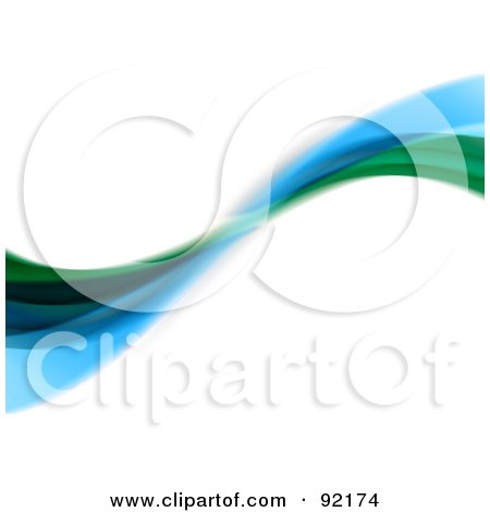 Royalty-Free (RF) Clipart Illustration of a Background Of Horizontal Green And Blue Swooshes Over White by Arena Creative